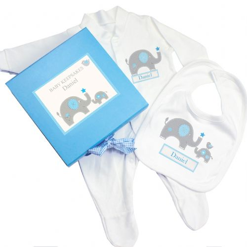 Personalised Blue Baby Elephant Gift Set - Babygrow & Bib